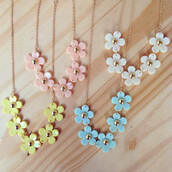 jewels,floral,flowers,pink,yellow,white,blue,cute,necklace,chain,spring