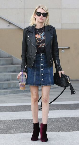skirt top denim skirt denim biker jacket emma roberts fall outfits ankle boots velvet