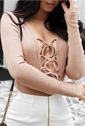 top,nude,beige,long sleeves,fashion,style,lace up,sexy,fashionista,summer,spring,beautifulhalo