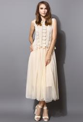 dress,daisy,crochet,tulle skirt,maxi dress,twinset,chic,elegant,women,blogger
