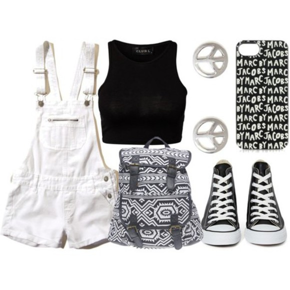 clothes phone case black and white converse