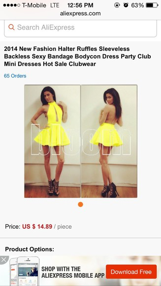 yellow dress bodycon dress halter ruffle