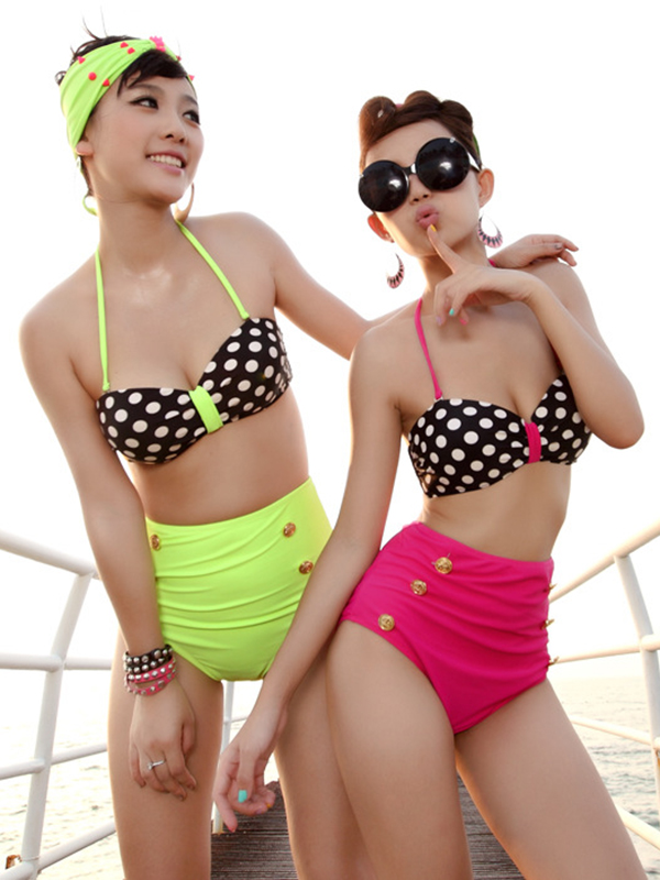 High Waisted Buttons Embellished Color Block Halter Neck Polka Dot Print Swimwear : KissChic.com