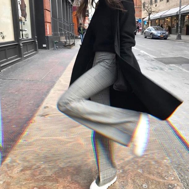 pants high waisted plaid black and white