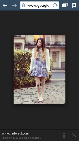 dress cute plaid blue white tartan sleeve puffy marzia pretty girly adorable pockets winter outfits summer loose