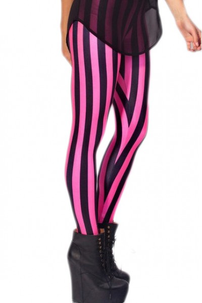 KCLOTH Zebra Printed Pink Slim Fit Leggings