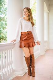 a lonestar state of southern,blogger,skirt,shirt,shoes,belt,jewels,fall outfits,fall colors,brown boots,leather skirt,white blouse