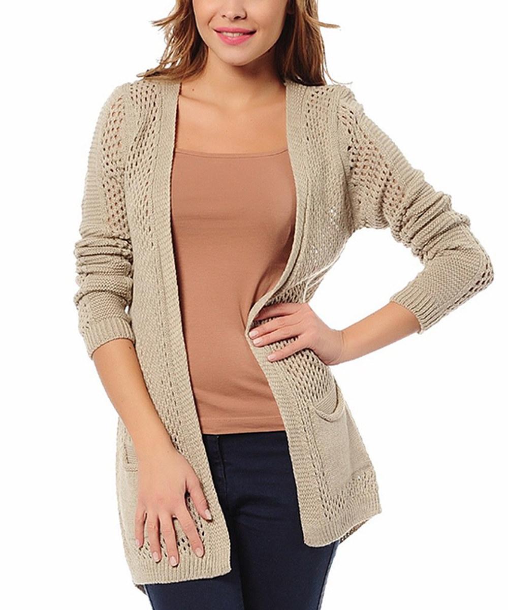 Light Brown Pocket Crochet Knit Open Cardigan | zulily - Brown Pocket Crochet Knit Open Cardigan Zulily