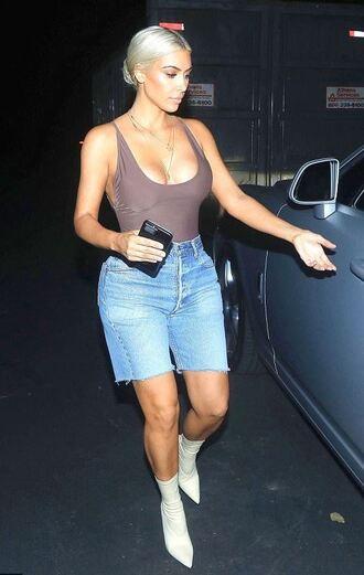 top denim shorts denim kim kardashian kardashians boots bodysuit shoes