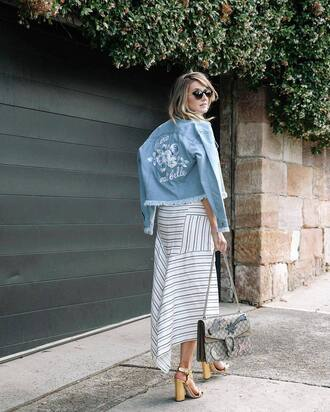 jacket tumblr blue jacket frayed denim asymmetrical asymmetrical dress white dress stripes striped dress sandals sandal heels high heel sandals gold sandals bag gucci gucci bag chain bag dionysus sunglasses embroidered jacket