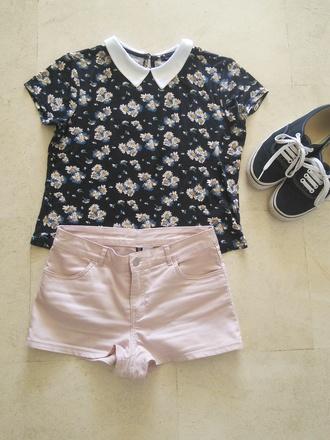 t-shirt daisy collar peter pan collar crop tops shorts pink vans