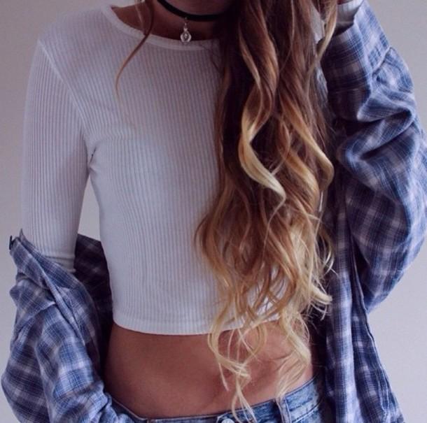 shirt pretty lovely fashion flannel shirt flannel brandy melville blonde hair white t-shirt blue shirt white