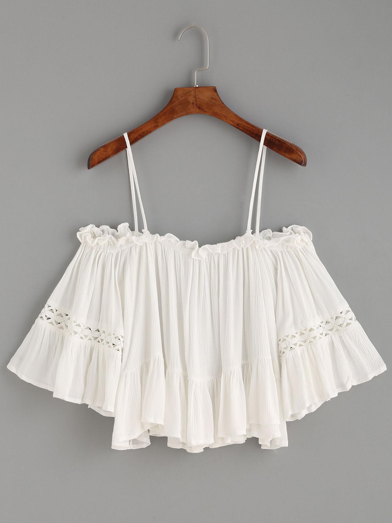 4b36353fdeadf9 White Crochet Insert Cold Shoulder Ruffle Top -SheIn(Sheinside)