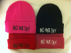 bad hair day beanie hat cap in black red pink white adults