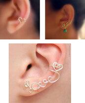 jewels,earrings,ear cuff,heart earrings