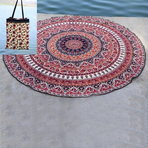 Indian Mandala Roundie Beach Throw Tapestry