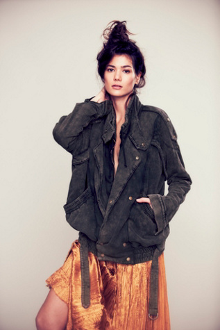 free people womens we the free oversized fleece moto jacket