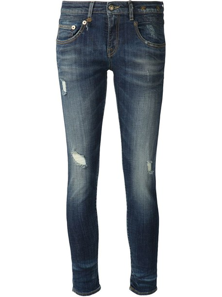 R13 jeans women spandex cotton blue