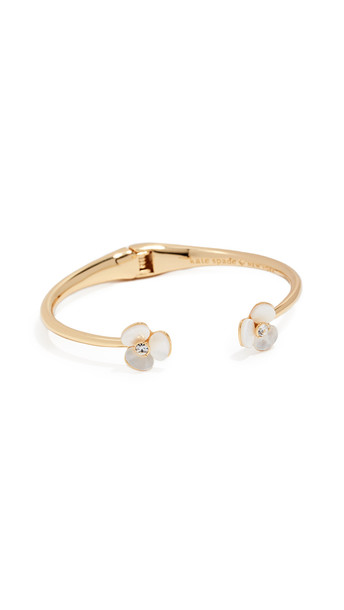 Kate Spade New York Disco Pansy Thin Cuff Bracelet in cream / clear