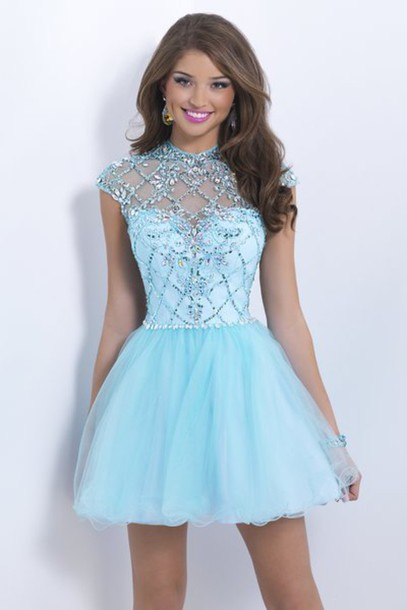 Dress: high neckline dress, party dress, crystal dress, sky blue ...