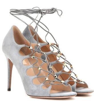 sandals lace suede grey shoes