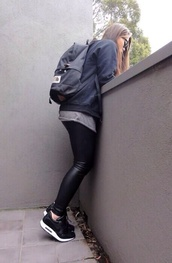 bag,jeans,shoes,sweater,shirt,black leather pants,nike air,black,white,girly,pants,backpack,leather pants,nike,coat