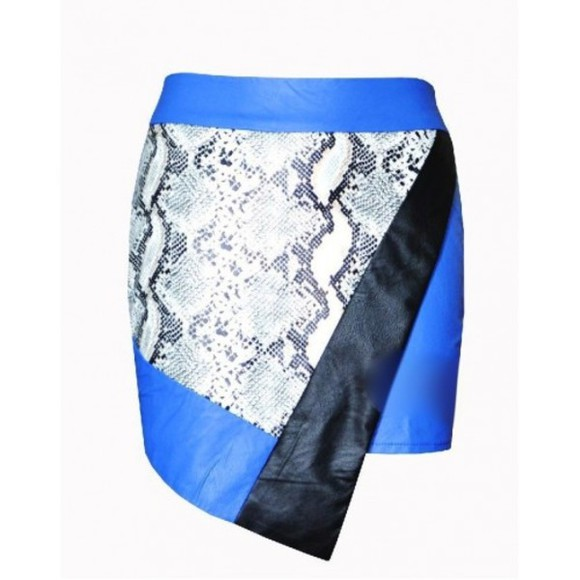 python skirt snakeskin snake asymmetrical leather pu leather cobalt blue fold over