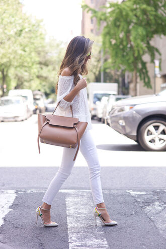 shoes white jeans white skinny jeans white pumps charlotte olympia heels celine off the shoulder top lace off the shoulder top ankle strap pumps ankle strap heels charlotte olympia celine bag off the shoulder white off the shoulder top nude tote bag