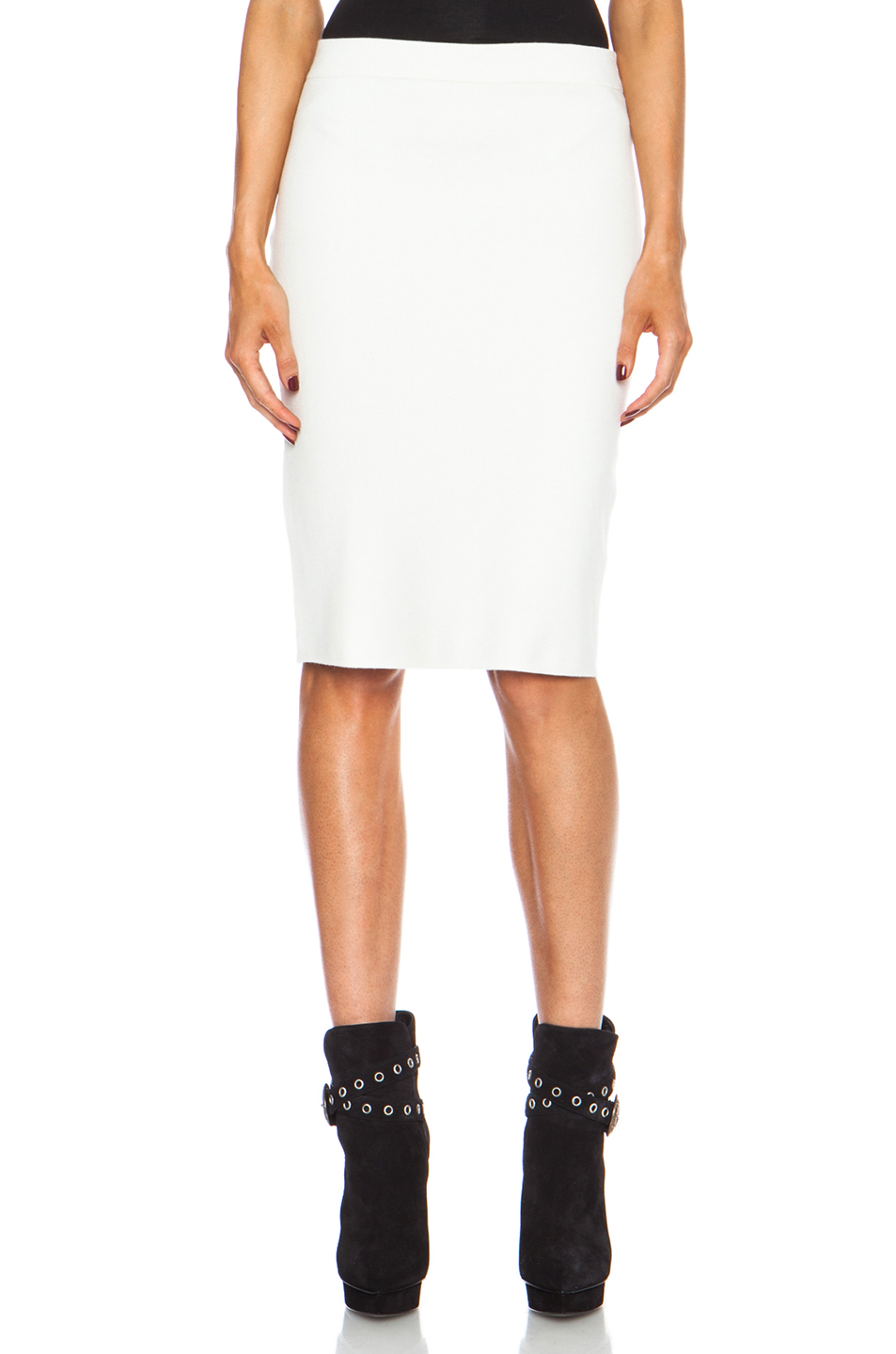 JONATHAN SIMKHAI | Stretch Pencil Rayon Skirt in White