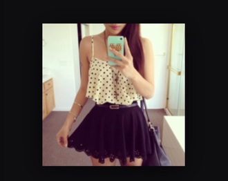 tank top polka dot flowy crop tops skirt gloves
