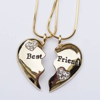 jewels bff coat gold necklace with the bestfriends kn it jewelry necklace bff necklace best friends necklace bff jewelry bag gold heart