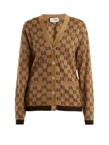 gucci cardigan cardigan jacquard wool beige sweater