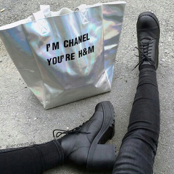 bag black silver h&m chanel bag