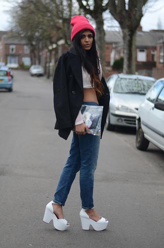 she wears fashion t-shirt jeans coat hat bag shoes