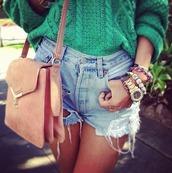 sweater,green,knitted sweater,oversized sweater,shorts,bag,jewels,jewelry,accessories,watch,ripped shorts,jeans,Accessory,knitwear,bracelets,denim,denim shorts