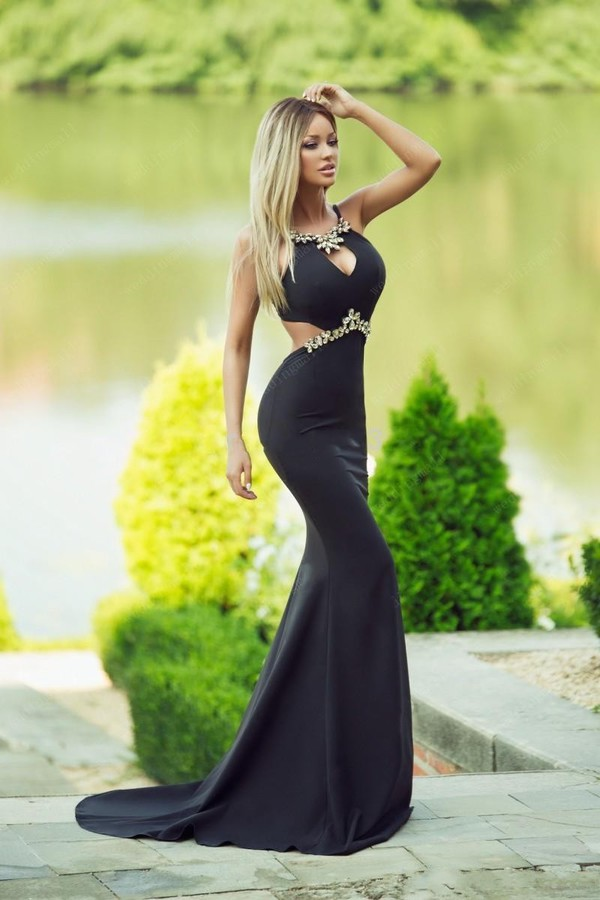 Aliexpress.com : Buy Black Dress Long Train 2015 Black Mermaid ...