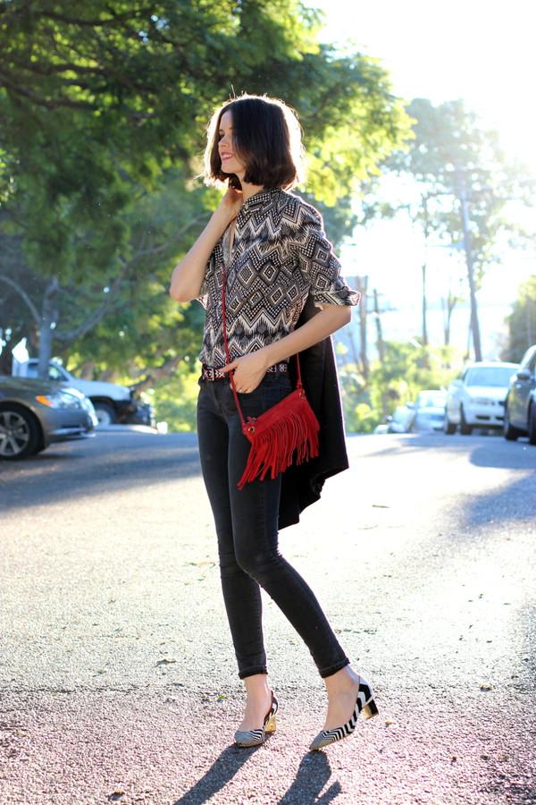 by chill jeans belt bag shoes fringed bag shirt coat