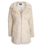 Candice long sleeve textured faux fur coat in cream