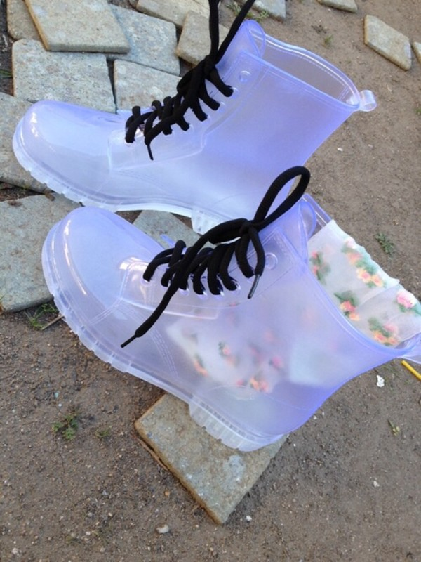 shoes jellies transparent shoes clear boots boots clear colorless