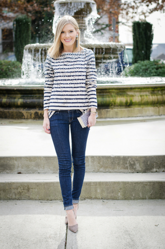 life with emily blogger t-shirt bag shoes jewels sequin shirt top stripes striped top jeans skinny jeans blue jeans clutch