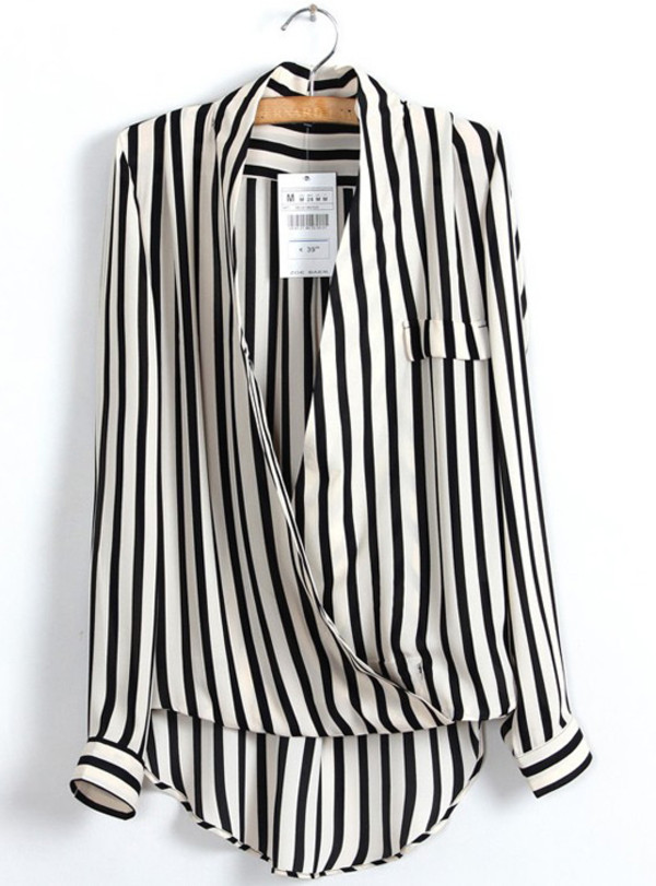 shirt hot sale stripes chiffon sexy spring loose slim shirt
