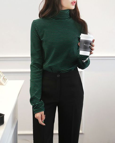 top oversized long sleeves hipster aesthetic stripes dark green top