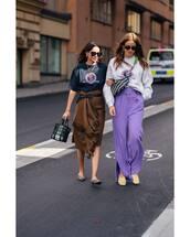 shoes,mules,asymmetrical skirt,belt,black t-shirt,wide-leg pants,sweater,handbag,sunglasses