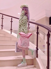 sweater,mint,cute,petite,pink,pastel pink,cute pastel top mint pink,mint sweater,pink bag,purse,lovely,kawaii,adorable sweet,sweeter,sweet,lolita,bag,hat,shoes