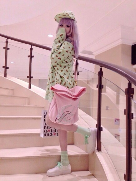 cute pink bag petite sweater mint mint green pastel pink cute pastel top mint pink mint sweater pink bag purse adorable kawaii kawaii princess adorable sweet sweeter sweet sweet lolita lolita fashion hat shoes