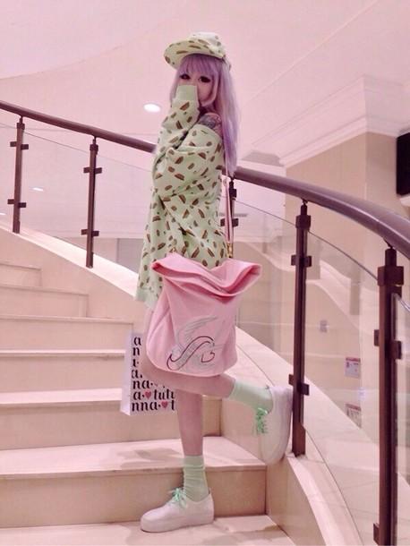 sweater mint mint cute petite pink pastel pink cute pastel top mint pink mint sweater pink bag purse lovely kawaii kawaii adorable sweet sweeter sweet lolita lolita bag hat shoes