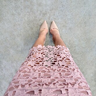 skirt lace pink blush muted nude heels midi skirt gojane