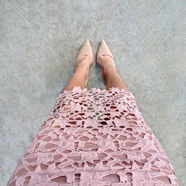 de15cde1a skirt, lace, pink, blush, muted, nude heels, midi skirt, gojane ...