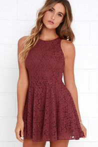 a5f06d7493 Lucy Love Hollie Jean Maroon Lace Skater Dress