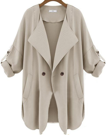 Apricot Long Sleeve Pockets Trench Coat - Sheinside.com